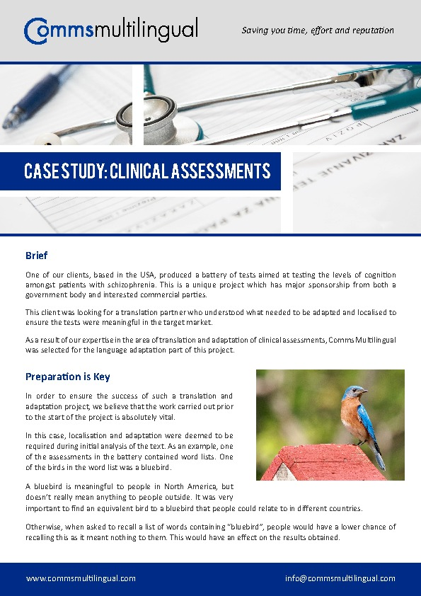 Comms Multilingual - Clinical Assessments Case Study